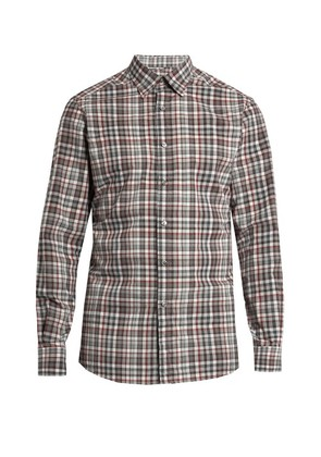 Long-sleeved checked cotton shirt