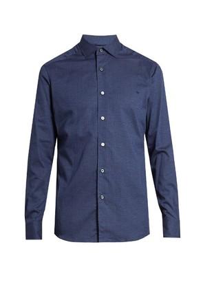 Micro diamond-print cotton shirt