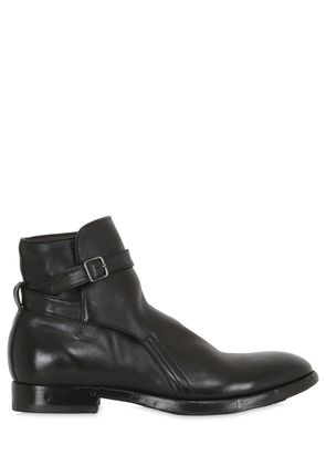 WASHED HORSE LEATHER BELTED BOOTS