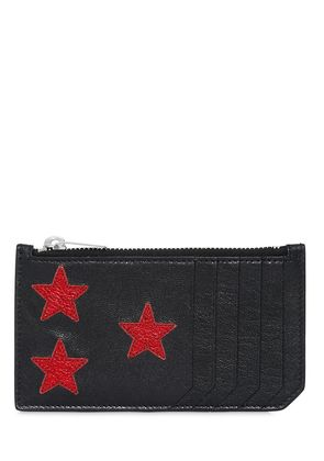 METALLIC STARS LEATHER ZIP CARD HOLDER