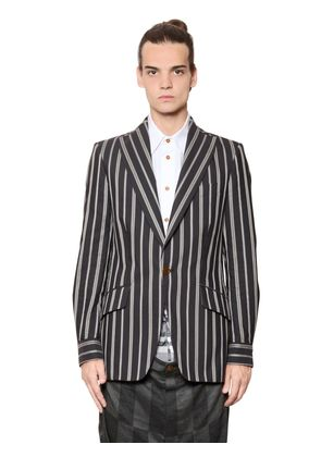 DECONSTRUCTED PINSTRIPED COTTON JACKET