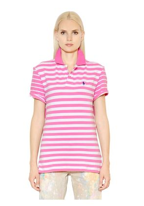 BOYFRIEND FIT STRIPED COTTON POLO SHIRT