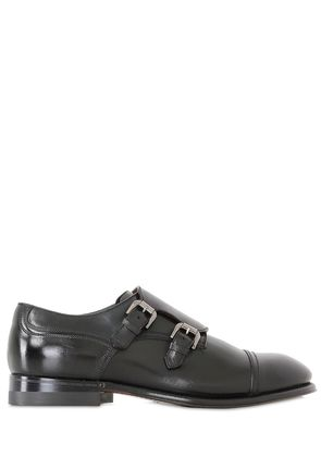 BRUSHED LEATHER MONK STRAP SHOES
