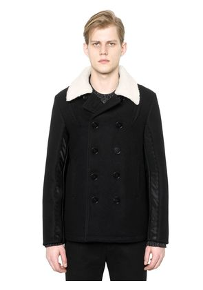 WOOL PEACOAT WITH FAUX FUR COLLAR