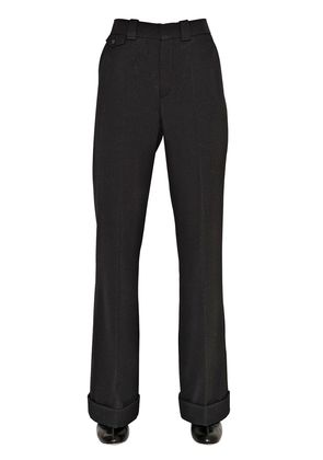 FLARED WOOL TWILL PANTS