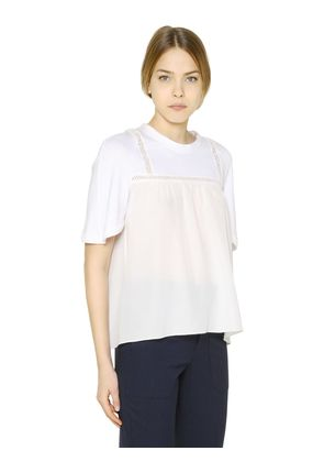 COTTON JERSEY & SILK CREPE T-SHIRT