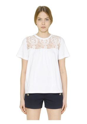 COTTON T-SHIRT W/ CROCHETED LACE INSERT