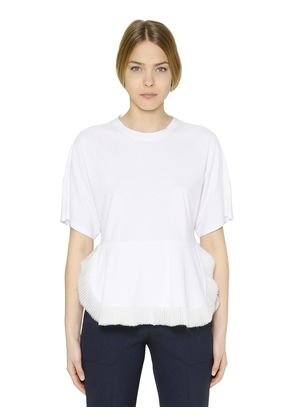 COTTON JERSEY & TECHNO CHIFFON T-SHIRT