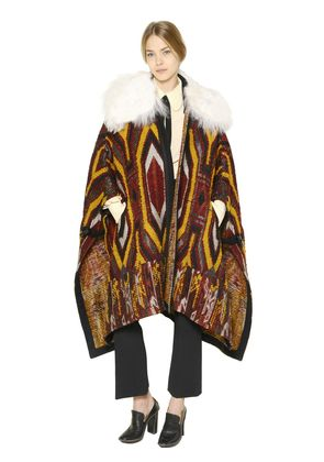 FAUX SHEARLING & WOOL TAPESTRY CAPE