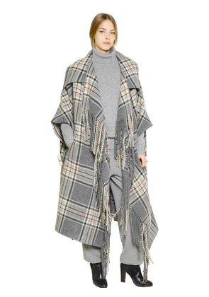 PLAID VIRGIN WOOL BLANKET CAPE