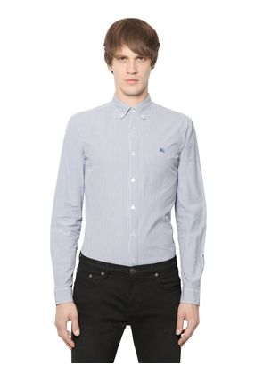 STRIPED STRETCH COTTON POPLIN SHIRT