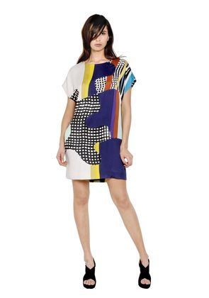 VISCOSE BLEND JERSEY PATCHWORK DRESS