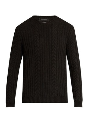 Ribbed and chevron-knit cashmere sweater