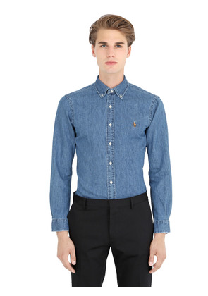 SLIM FIT COTTON DENIM BUTTON DOWN SHIRT