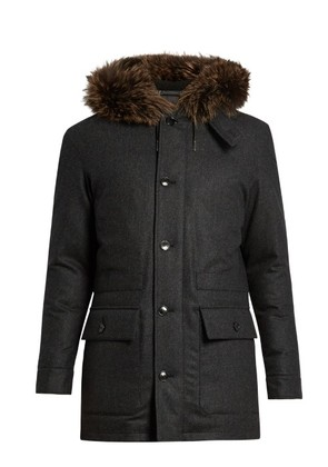 Fur-trimmed down-padded wool parka