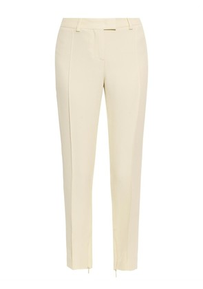Skinny-leg cropped crepe trousers