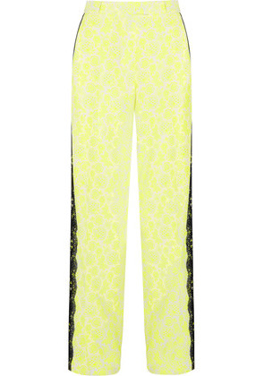 'Christopher Kane - Lace-trimmed Printed Stretch-crepe Wide-leg Pants - Bright yellow'