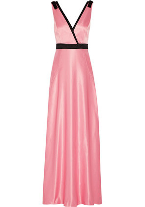 'Raoul - Delphine Embellished Wrap-effect Satin Gown - Baby pink'