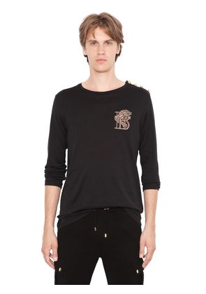 EMBROIDERED LION COTTON T-SHIRT