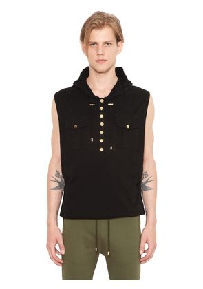 SLEEVELESS HOODED COTTON T-SHIRT