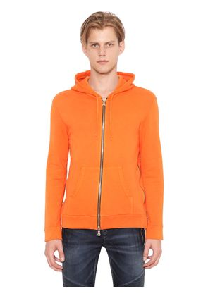 ZIPPED HOODED COTTON JERSEY SWEATSHIRT