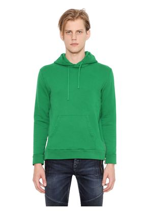 COTTON JERSEY HOODED SWEATSHIRT W/ ZIPS