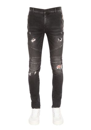 17.5CM BIKER DESTROYED DENIM JEANS
