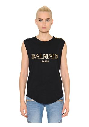 BALMAIN PRINT COTTON JERSEY T-SHIRT