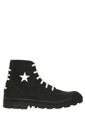 OLYMPUS COTTON CANVAS LACE-UP BOOTS