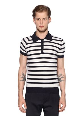 STRIPED WOOL KNITTED POLO SHIRT