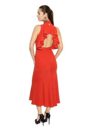 OPEN RUFFLED BACK CREPE MIDI DRESS