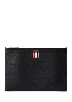 SMALL PEBBLED LEATHER ZIP POUCH