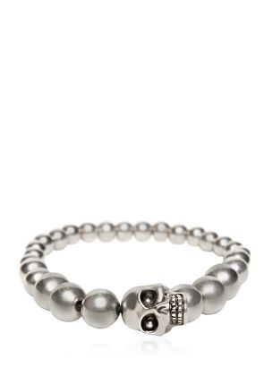 SKULL SILVER FINISH BALL BRACELET