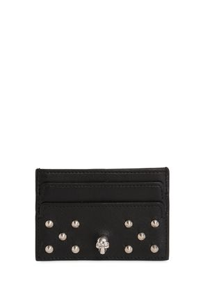 SKULL STUDDED LEATHER CARD HOLDER
