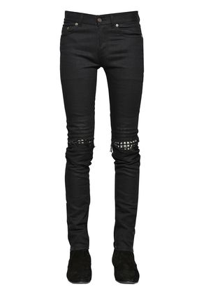 15CM STUDDED LEATHER PATCH DENIM JEANS