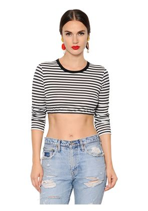 STRIPED COTTON JERSEY CROPPED T-SHIRT