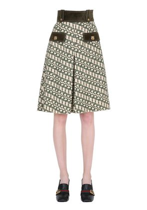 PRINTED WOOL SHORTS W/ SUEDE DETAILS