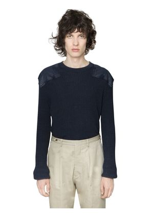 WASHED WOOL COTTON MILITARY SWEATER