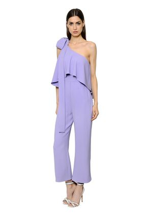 ONE SHOULDER RUFFLED CADY JUMPSUIT