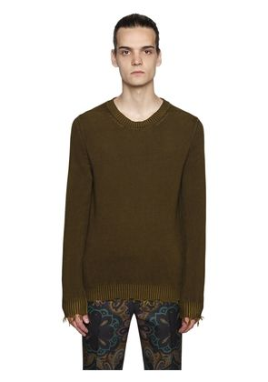 DISTRESSED COTTON KNIT SWEATER