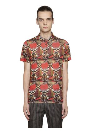 PSYCHEDELIC LINEN JERSEY POLO SHIRT