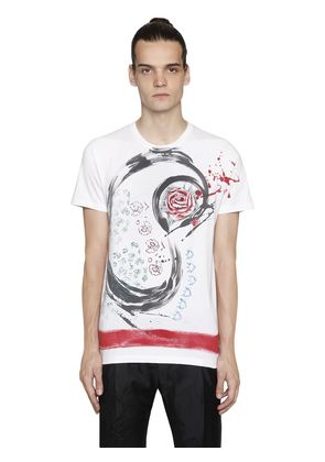 HAND-PAINTED ROSES COTTON JERSEY T-SHIRT