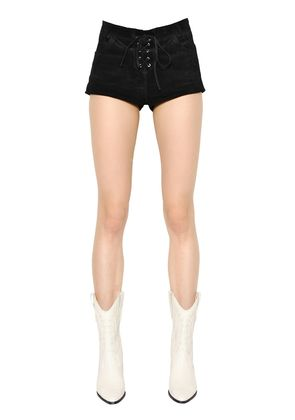 LACE UP SUEDE SHORTS