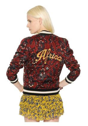 EMBROIDERED PRINTED COTTON BOMBER JACKET