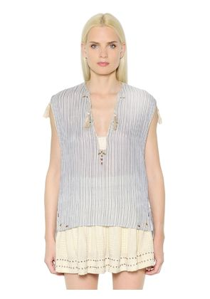 EMBROIDERED STRIPED COTTON VOILE TOP