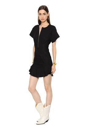 ZIP RUFFLED STRETCH COTTON BLEND DRESS