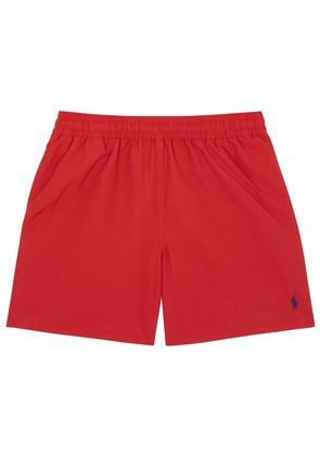 Hawaiian red swim shorts