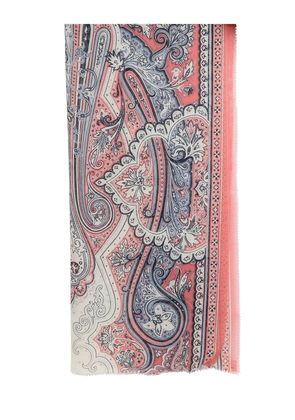PRINTED PAISLEY SILK CASHMERE SCARF