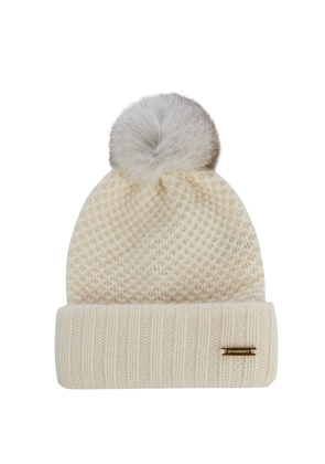 Fur-pompom wool and cashmere-blend beanie hat