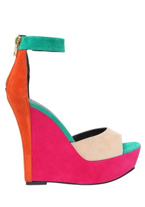 140MM COLOR BLOCKED SUEDE WEDGES